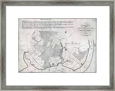 A Map Of General Washingtons Farm Framed Print by Everett