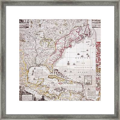 A Map Of The British Empire In America With The French Settlements Adjacent Thereto Framed Print by Henry Popple