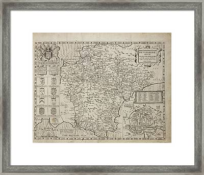 A Map Of The County Of Devonshire Framed Print by British Library