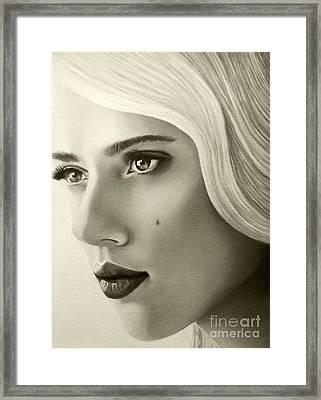 A Mark Of Beauty - Scarlett Johansson Framed Print by Malinda Prudhomme