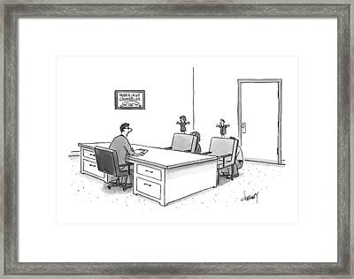 A Marriage Counselor Talks To A Couple Who Framed Print by Tom Cheney