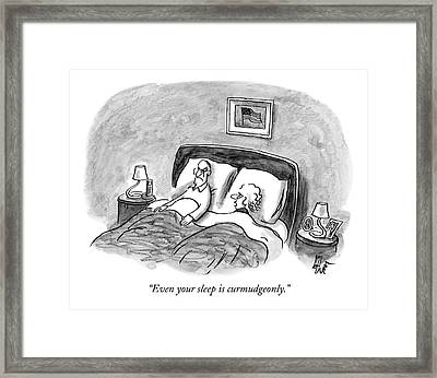 A Married Couple Talks In Bed Framed Print