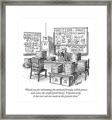 A Mathematician In A Room Full Of Stacked Papers Framed Print by Tom Cheney