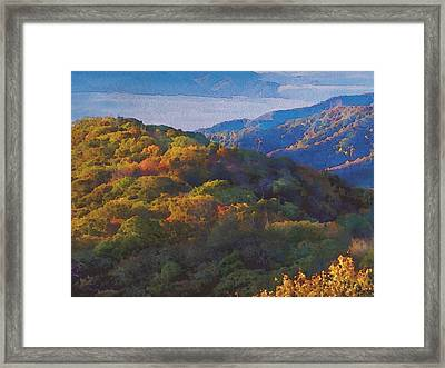 a Maxfield Parrish Autumn in the Smokies Framed Print