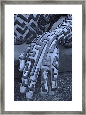 A Maze Ing Hand Cyan Framed Print by Rob Hans
