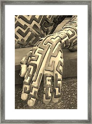 A Maze Ing Hand Sepia Framed Print by Rob Hans