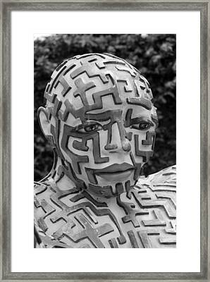 A Maze Ing Man 11 Black And White Framed Print by Rob Hans