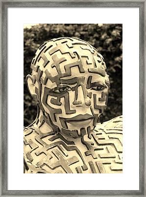 A Maze Ing Man 11 Sepia Framed Print by Rob Hans