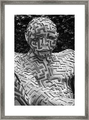 A Maze Ing Man 12 Black And White Framed Print by Rob Hans