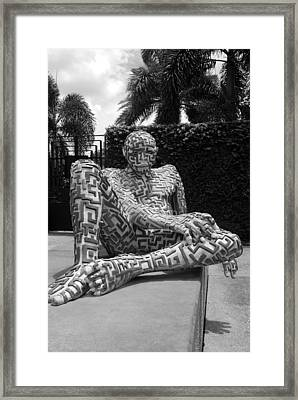 A Maze Ing Man 13 Black And White Framed Print by Rob Hans