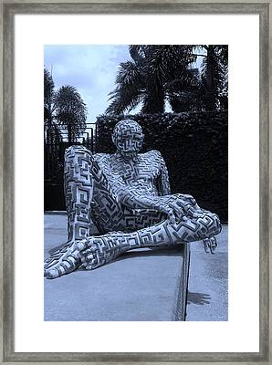 A Maze Ing Man 13 Cyan Framed Print by Rob Hans