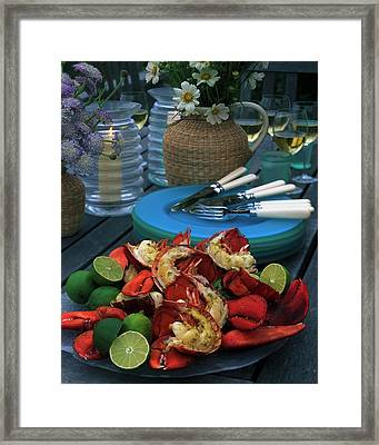 A Meal With Lobster And Limes Framed Print