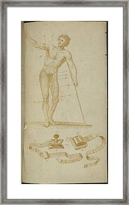 A Medical Diagram Of A Naked Man Framed Print by British Library