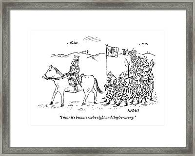 A Medieval Army Leaves A Castle On Foot Led Framed Print by David Sipress