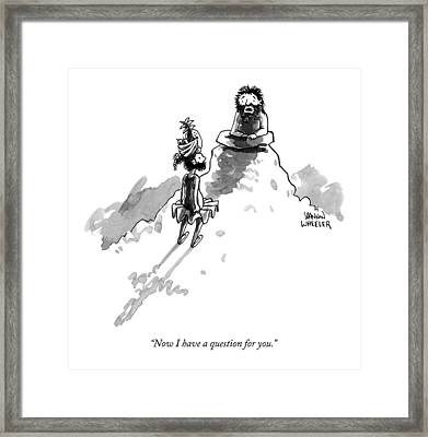 A Meditating Man On A Mountaintop To Someone Who Framed Print by Shannon Wheeler