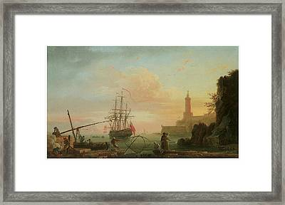 A Mediterranean Port At Sunrise With A Lighthouse Framed Print