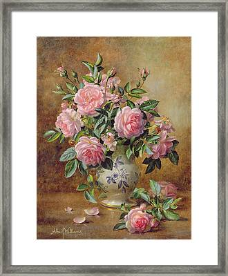 A Medley Of Pink Roses Framed Print by Albert Williams