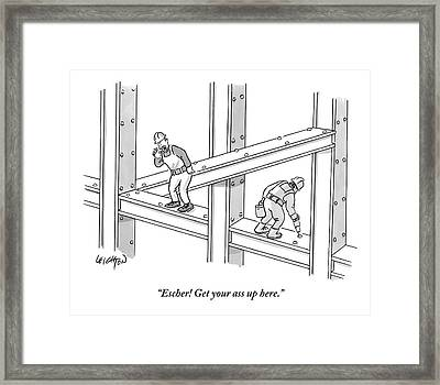 A Men Works On The Sky Scraper  Beams Framed Print