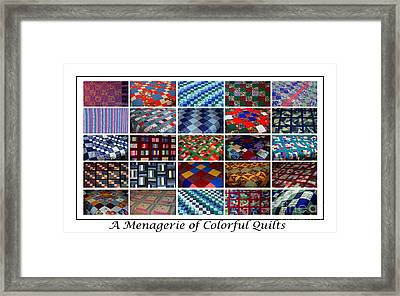 A Menagerie Of Colorful Quilts  Framed Print
