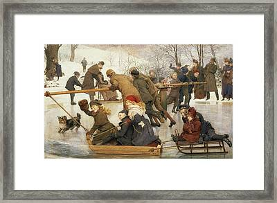 A Merry Go Round On The Ice, 1888 Framed Print by Robert Barnes