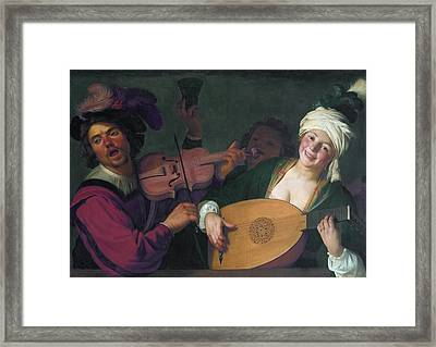 A Merry Group Behind A Balustrade With A Violin And A Lute Player Framed Print by Gerard van Honthorst