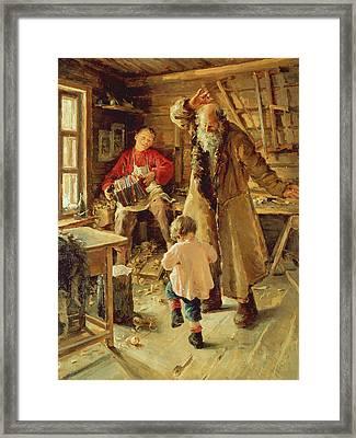 A Merry Moment Framed Print by Antonina Leonardov Rzhevskaya