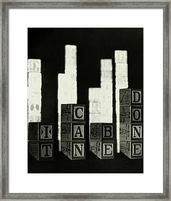 A Message In Wooden Blocks Framed Print by Irving Browning