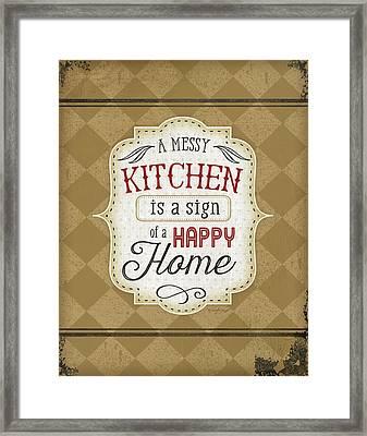 A Messy Kitchen Framed Print by Jennifer Pugh