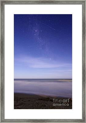 A Meteor Crossing The Milky Way Framed Print