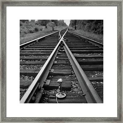 A Microphone Placed In Between Railroad Tracks Framed Print by Richard Rutledge