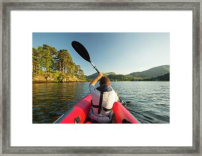 A Middle Aged Man Paddling Framed Print by Ashley Cooper