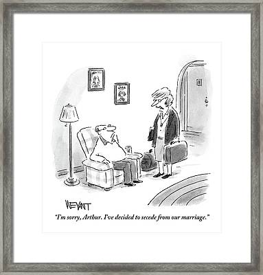 A Middle-aged Wife With Packed Bags Framed Print