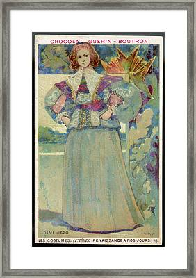 A Middle-class Lady In  Lacy Collar Framed Print by Mary Evans Picture Library