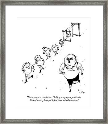 A Military Drill Sergeant Speaks To His Troops Framed Print by Edward Steed