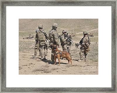 A Military Working Dog Accompanies U.s Framed Print by Stocktrek Images