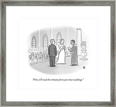 A Minister Performing A Wedding Speaks Framed Print by Paul Noth