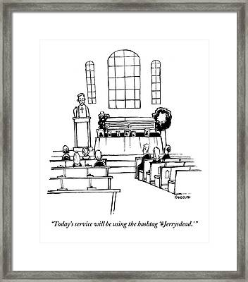 A Minister Speaks At A Funeral Service Framed Print by Corey Pandolph