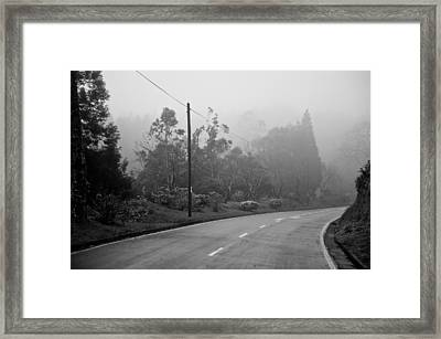 A Misty Country Road Framed Print