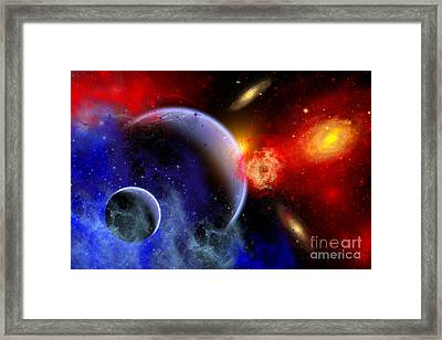 A Mixture Of Colorful Stars, Planets Framed Print by Mark Stevenson
