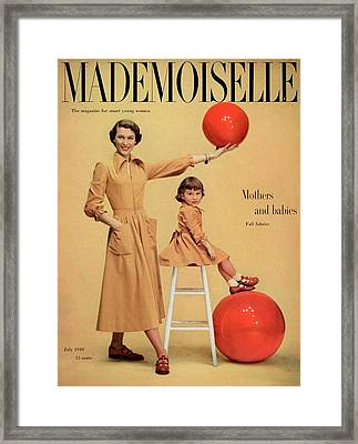 A Model And A Girl With Red Balls Wearing Joan Framed Print