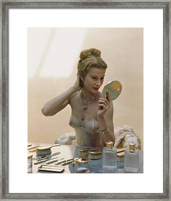 A Model At A Dressing Table Framed Print