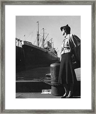 A Model At A Port Framed Print by Toni Frissell