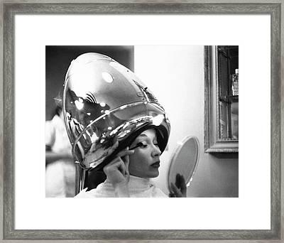 A Model In A Beauty Salon Framed Print