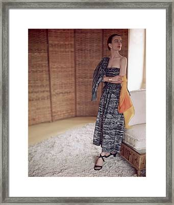 A Model In A Cotton Top And Skirt Framed Print