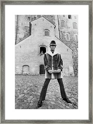 A Model In A Double-breasted Coat With Eight Framed Print by Leonard Nones