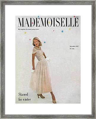 A Model In A Filcol Net Dress Framed Print by Mark Shaw
