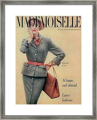 A Model In A Flannel Suit By Joselli Framed Print by Herman Landshoff
