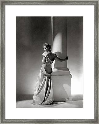 A Model In A Gown By Vionnet And Jewelry Framed Print by George Hoyningen-Huene