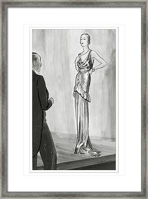 A Model In A Lanvin Gown Framed Print