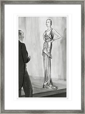 A Model In A Lanvin Gown Framed Print by Rene Bouet-Willaumez